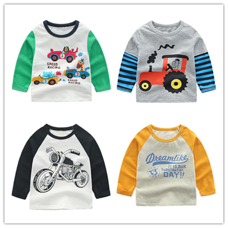Boys T-Shirt Tops Cars-Trucks Kids Tees Long-Sleeve Autumn Striped Cotton Cartoon Spring