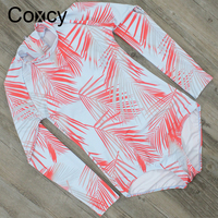 Coxcy Summer Floral Print One Piece Swimsuit Long Sleeve Surfing Swimwear Women Bathing Suit Retro Swimsuit