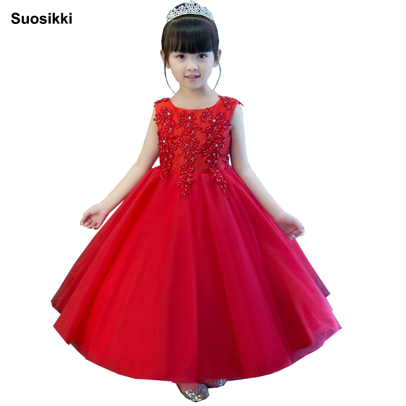 Flower     Girl     Dresses   For Weddings Lace Ball Gown Sleeveless Kids Evening Gown First Communion   Dresses   For   Girls   Vestido Longo