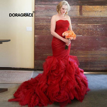 Doragrace Strapless Sleeveless Lace-Up Organza Ruffles Flower Red Wedding Dresses Mermaid Wedding Gowns Bridal Dresses cute mermaid girls pageant gowns lace applique sleeveless lace up flower girls dresses for wedding any size
