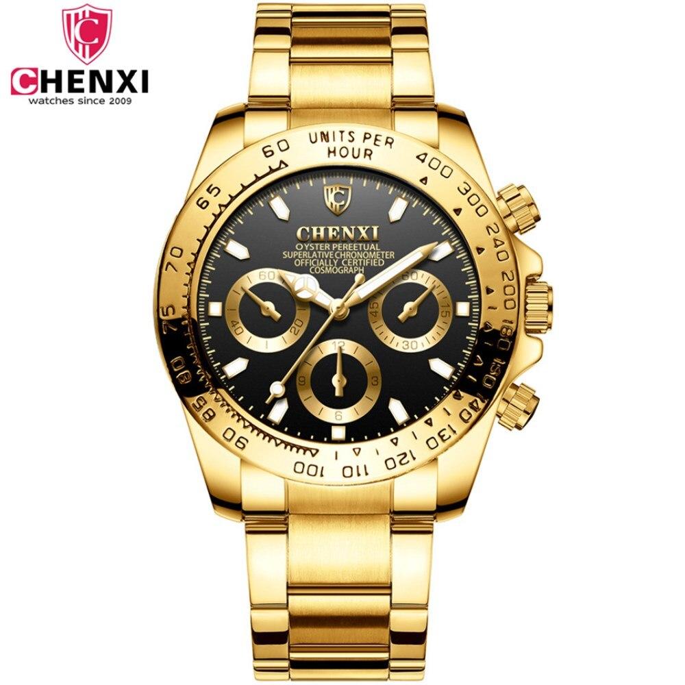 Or montres hommes Casual mode plein inoxydable montre-bracelet Étanche de luxe or D'affaires horloge Relogio Masculino quartz montres