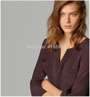 Spain MD cotton silk patchwork ladies long sleeve V neck shirts women elegant blouses spring autumn