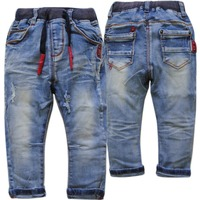 3714 Children Pants Baby Girls Boys Child Jeans Kids Soft Navy Blue Apring Autumn Casual Trousers