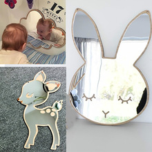 Espejo decorativo de dibujos animados para niños, cuarto de baño, habitación de bebé, conejo, estrella, madera, marco de espejo acrílico, decoraciones de pared de Arte Creativas para el hogar
