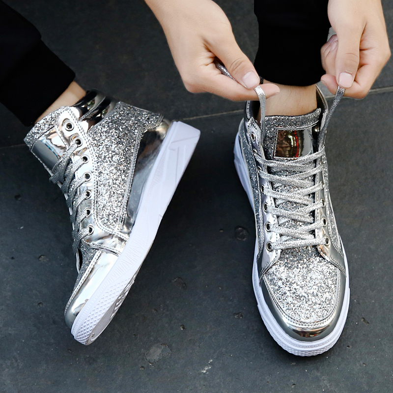 QWEDF 2019 Men hip hop dancing sneakers Flats Shoes Spring gold silver  bling Rhinestone Lace Up male Casual Ankle boots DP 164-in Motorcycle boots  from ... c1ecad406ef9
