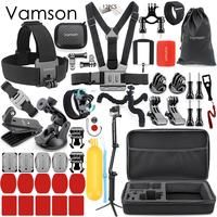 Vamson Accessories for Gopro Hero 7 6 5 4 Set Kit Head Strap Storage Box Tripod for Eken for Xiaomi for Yi Camera VS160