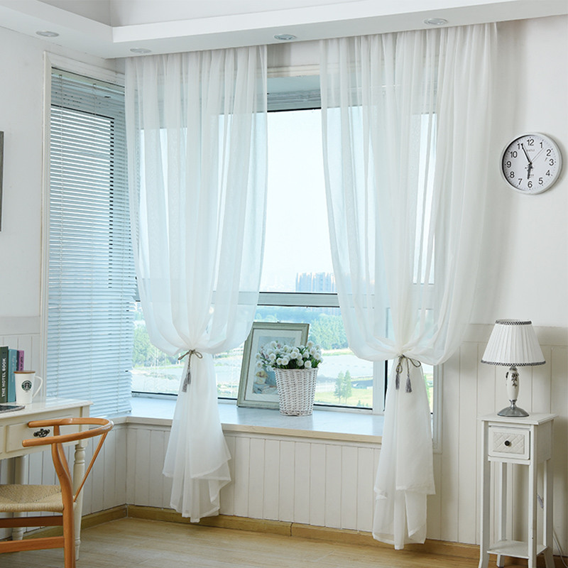 sheer curtains in living room aliexpress buy white sheer curtain made ready 19793