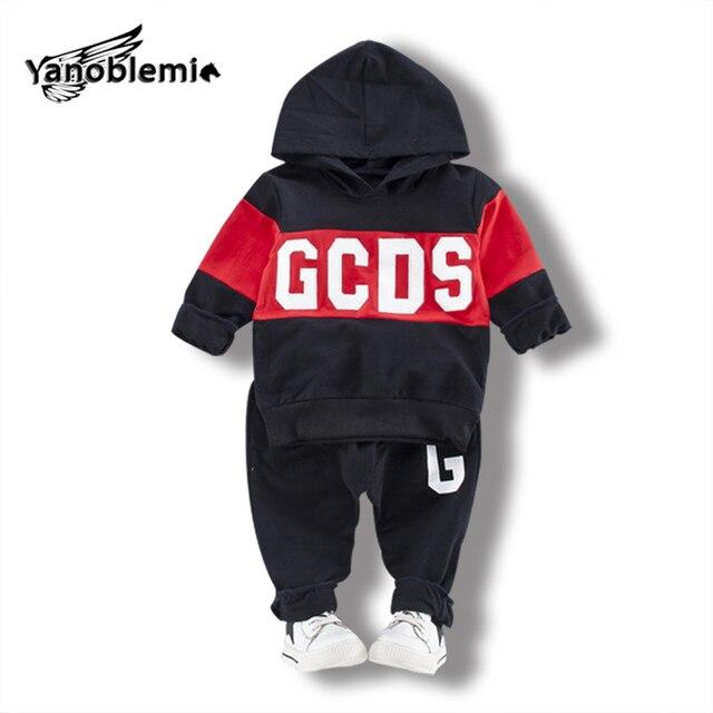 c10ba168e5ab7 Bébé Garçon Fille Hip Hop Vêtements Ensembles Lettre Sweat À Capuche Pull +  Pantalon 2 pcs
