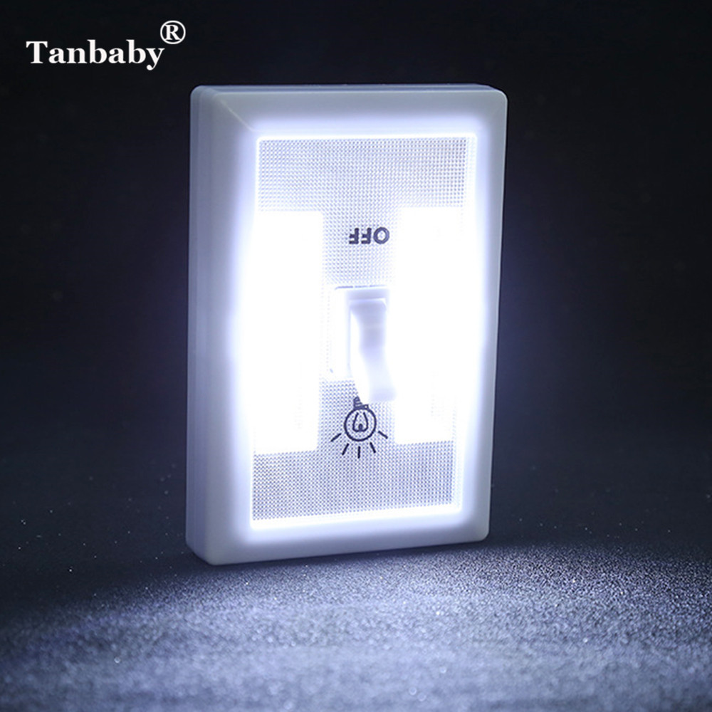 Tanbaby 3*AAA Battery Powered COB Switch Cabinet Closet Lamp LED Magnetic Wireless Night Light Bedroom Wardrobe Emergency Light