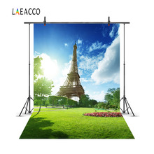 Laeacco Eiffel Tower Paris Grassland Scenery Portrait Photography Backgrounds Customized Photographic Backdrops For Photo Studio
