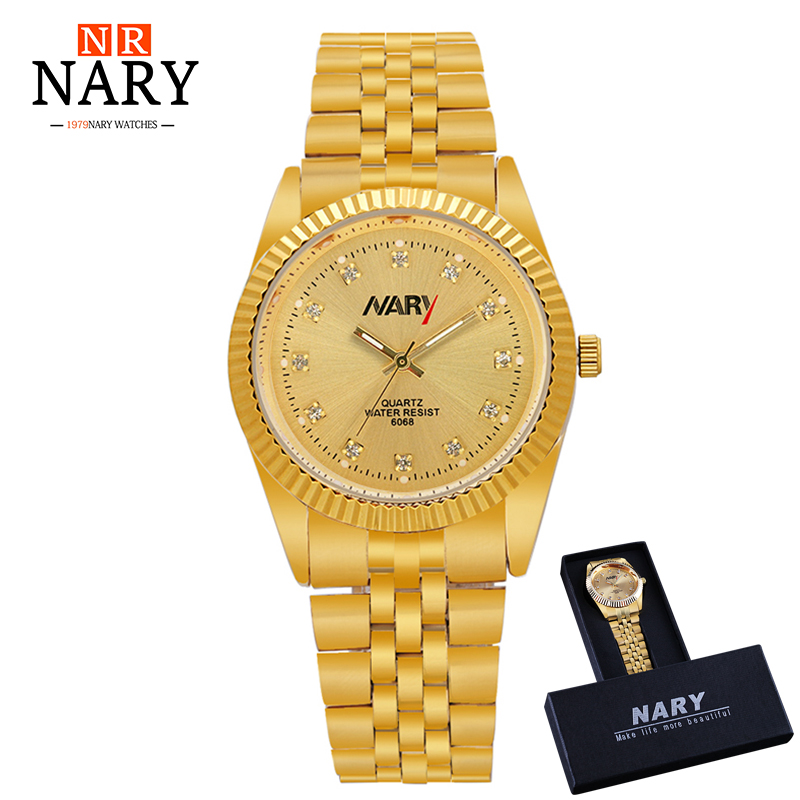 где купить NARY Men Gold Watch Male Stainless Steel Fashion Golden men's Wristwatches Wholesale Top Brand Luxury Quartz Watches Gift BOX дешево
