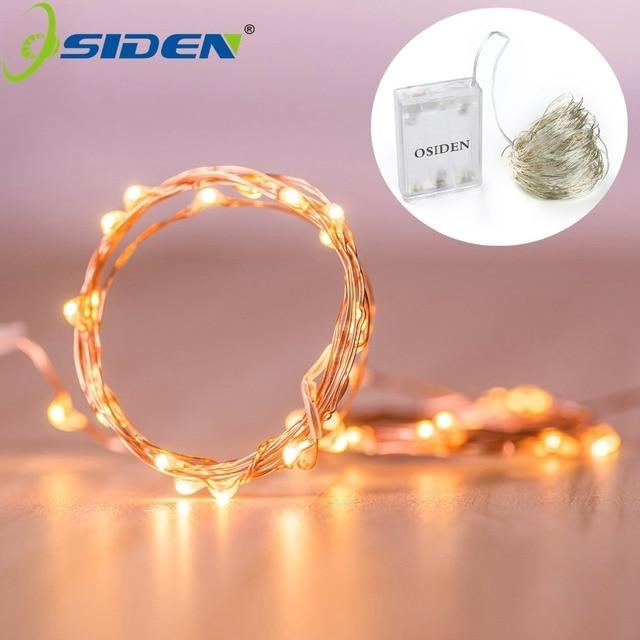 OSIDEN 2 M 5 m 10 m 100 Led cuerdas de alambre de cobre Alambre de 3XAA de la batería operado de Navidad fiesta de boda de la decoración LED cadena de luces de hadas