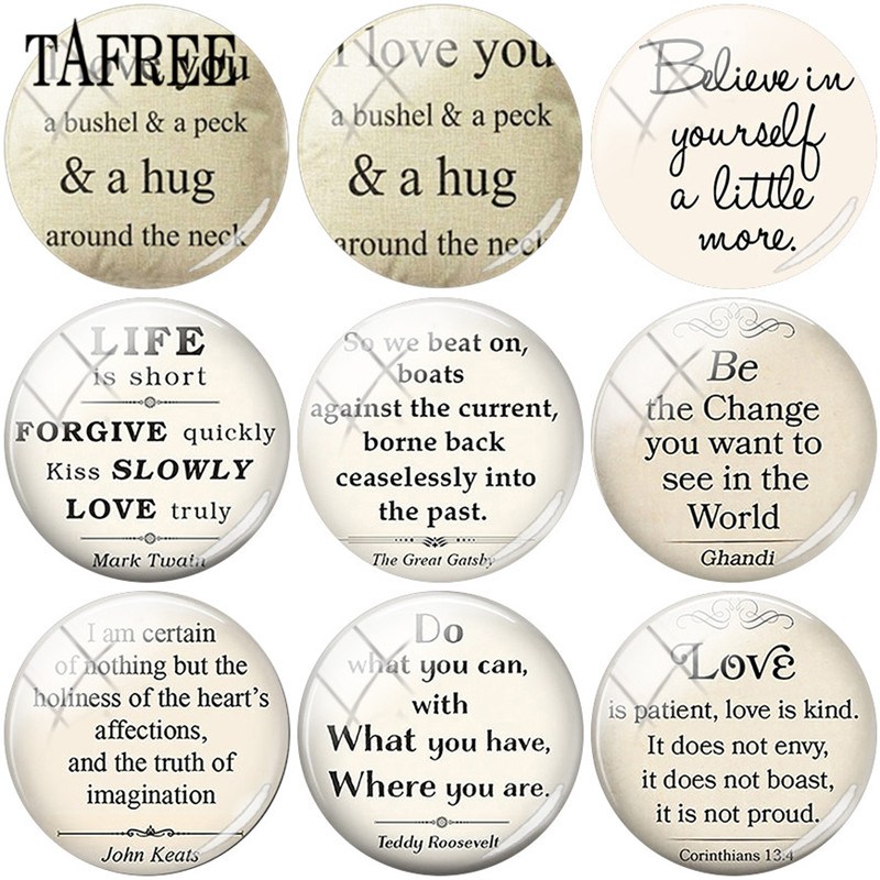 TAFREE Psalm Bible Verse Image 25mm Round Flat Back Glass Cabochon Dome Accessories DIY Friendship Love Dream Jewelry in Jewelry Findings Components from Jewelry Accessories