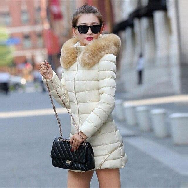 Hot! Fashion Women Clothes Winter Coat Raccoon Fur Collar Warm Coats Woman Long Outerwear Thicken Parkas Down Jacket H449