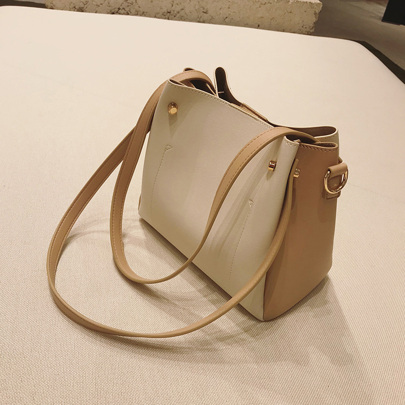 Contrast bucket bag Women's bag 2018 new winter fashion wild bag Beige Composite messenger bag