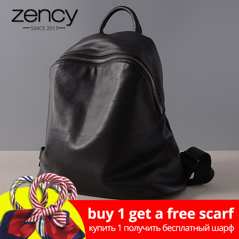 Zency Classic Black Women Backpack 100% Cowhide Genuine Leather Casual Travel Bag Preppy Style Girl's Schoolbag Fashion Knapsack