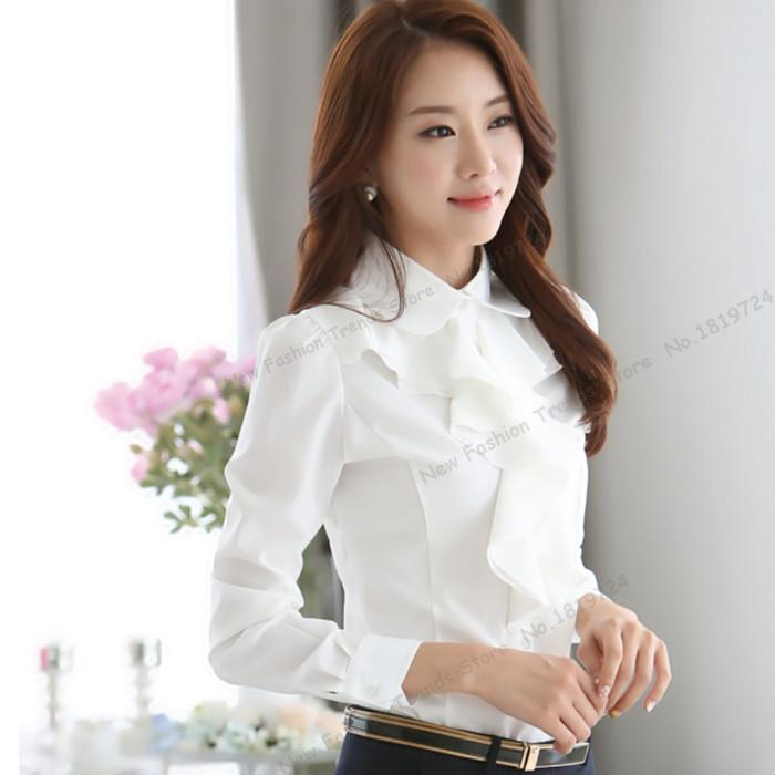 1efc3448735f4 2018 Choies Victorian Blouse Women s Ruffle Plain Long Sleeve Loose White  High Neck Shirt