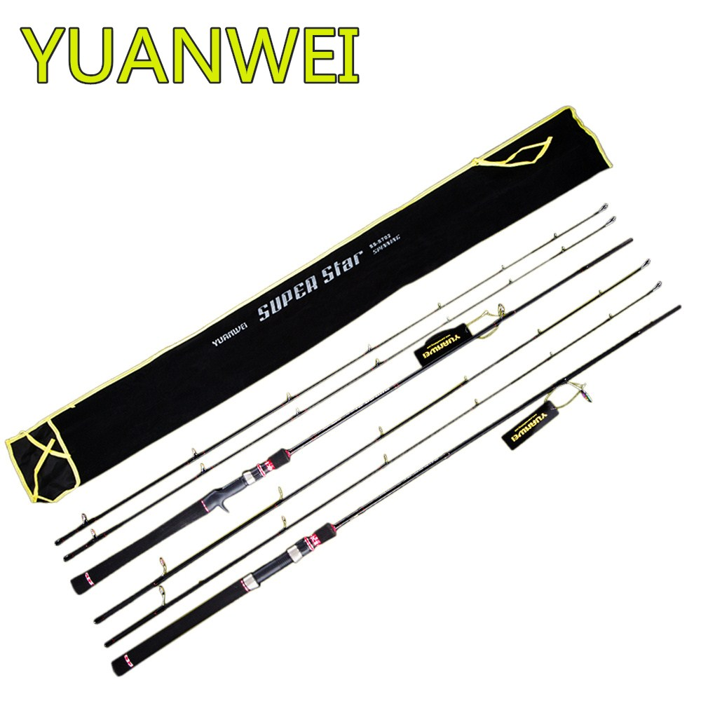 цена на YUANWEI 2.1m 2 Tips Spinning or Casting Fishing Rod Carbon Fiber 2 Sections Fishing Lure Rod Lure Weight 7-25g Power ML M Pesca