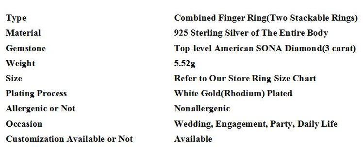 Ifeeler 3 Carat Twinkling American Sona Stone Genuine Pure Sterling