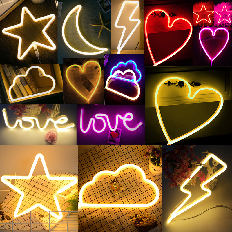 USB Batteries Operated LED Glow Lights Heart Cloud Neon Sign Christmas Party Led Night Lamp for