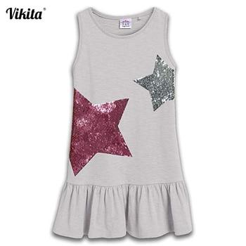 bd041bf2 VIKITA/Новинка 2019 года; брендовые летние платья для девочек; Одежда для  девочек с блестками; платье принцессы; Детский костюм; 100% хлопок; детска.