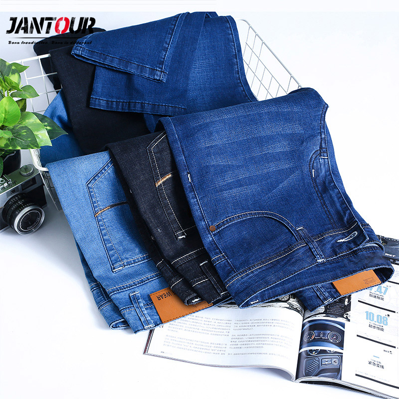 Jantour 2019 Spring New Men's Casual Thin Summer Denim Pants Classic   Jeans   Cowboys Young Man Fashion cotton trousers male