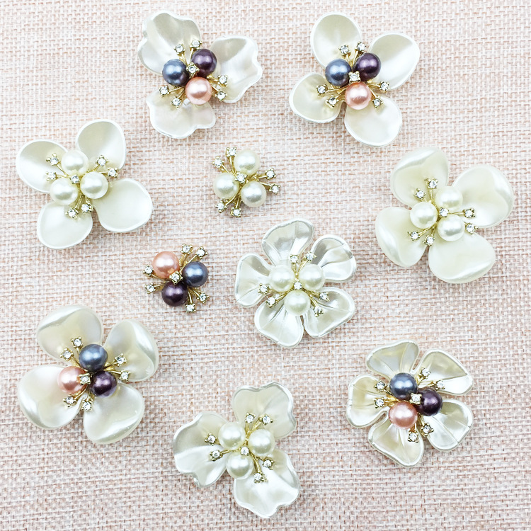 Fashion Shell Pearl Artificial Flower Accessories For Bridal Hair & Wedding Decoration Diy Jewelry Making Materials Components artificial flower