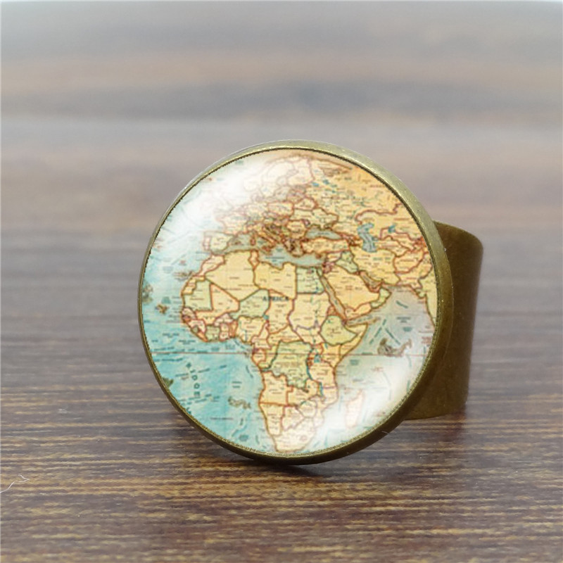 Vintage Globe Ring Planet Earth World Map Art Glass Cabochon Rings for Women Adjustable Antique Ring Wholesale S5084