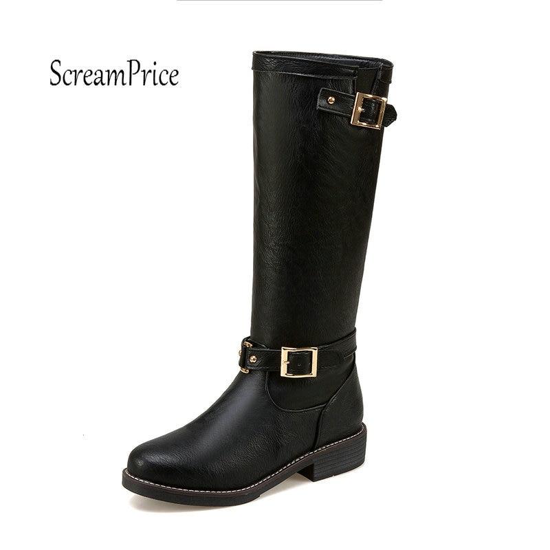 Для женщин обувь на весну/зиму Высокое качество PU Ботильоны с голенищем средней высоты с пряжкой на плоской подошве повседневная обувь желт...