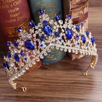 KMVEXO 2018 European Red Green Crystal Big Crown Headwear Bridal Wedding Hair Accessories Jewelry Bride Tiaras Princess Crowns