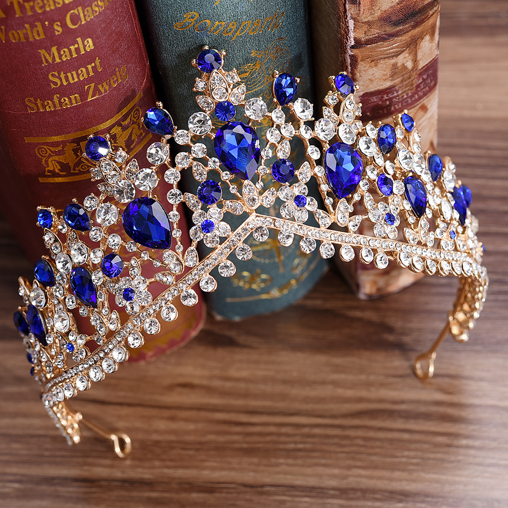 KMVEXO europeo 2018 rojo verde de cristal de gran corona tocado de novia boda pelo accesorios de la joyería de novia Tiaras coronas de princesa