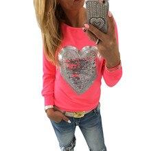 Перемычки s-xxxl блестками кофты о-образным пуловеры сердце вырезом прекрасный леди костюмы
