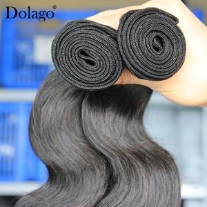Image 4 - 実体波バンドルブラジル髪織りバンドルとともに 1 閉鎖人間のバージン毛束延長 1/3/4 個dolago髪製品