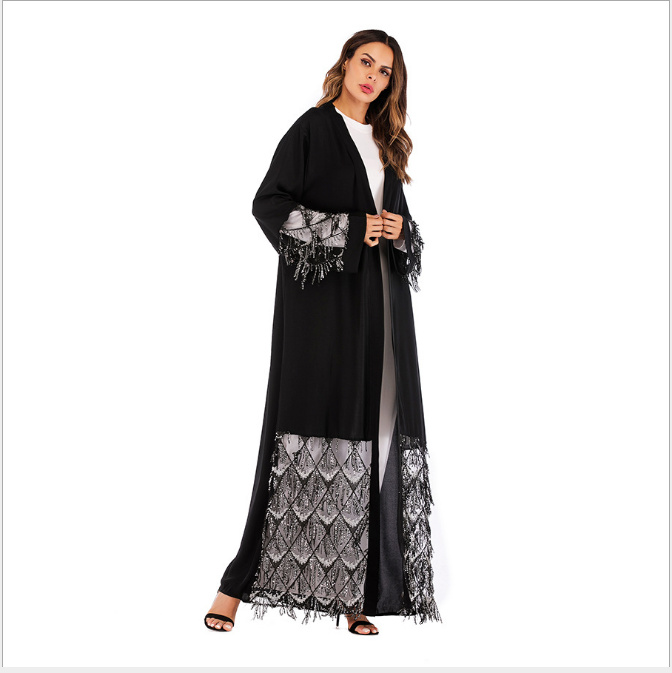 7a429865904 Muslim Sequins Mesh Nida UAE Abaya Maxi Dress Cardigan Long Robe Gowns  Jubah Kimono Ramadan Arab Islamic Kaftan Worship Service-in Islamic  Clothing from ...