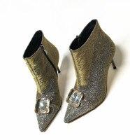 Роскошные Ясно Камень Для женщин с острым носом ботинки с блестками модные женские сапоги на высоком каблуке пикантные вечерние сапоги на ш