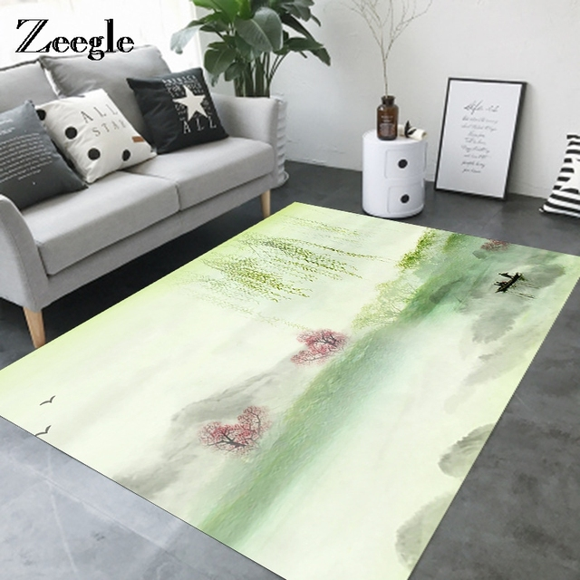 Zeegle Chinese Painting Carpet For Living Room Child Baby Decor Bedroom Rugs Office Chair