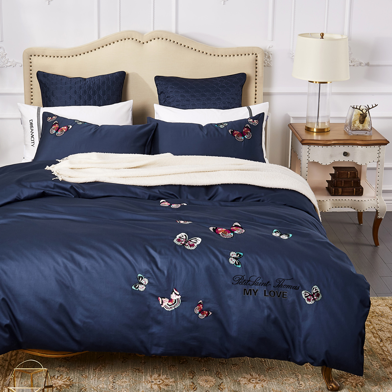 Egyptian Cotton Embroidery Luxury Bedding blue Butterfly Bed set King Queen Size Duvet cover Bedsheet setEgyptian Cotton Embroidery Luxury Bedding blue Butterfly Bed set King Queen Size Duvet cover Bedsheet set