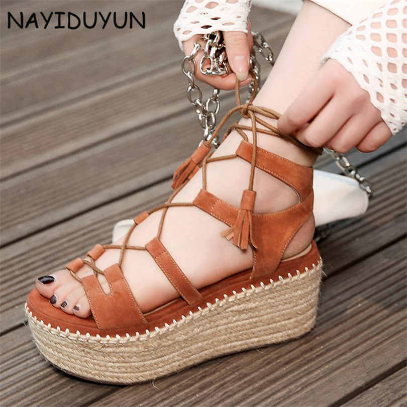 NAYIDUYUN Shoes Women Cow Suede Strappy Sandals Roman Gladiator Sandals Platform Wedges Creepers Party Casual Shoes Summer size phyanic 2017 gladiator sandals gold silver shoes woman summer platform wedges glitters creepers casual women shoes phy3323