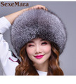 Whole fox fur hat for women winter fox fur hat with fur tail Multicolor 2017 Russia top sale new fashion skullies