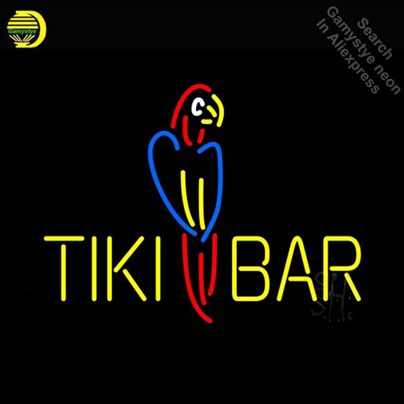 Neon Sign for Tiki Bar Parrot Neon Bulb sign handcraft Real Glass tube Game Room windows Dropshipping neon bar lights Home мышь x game xm 810ogb neon blue