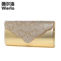WERLO Brand Designer 2017 New Diamonds Women Bags Chains Bag Fashion Chinese Style Bags Shoulder Messenger