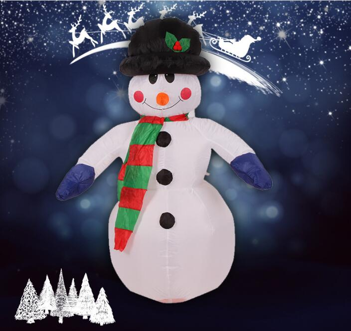 2017 Vioslite 2.4M Inflatable Christmas Snow Man Blue Hand in High Quality for Festival Decoration inflatable cartoon customized advertising giant christmas inflatable santa claus for christmas outdoor decoration