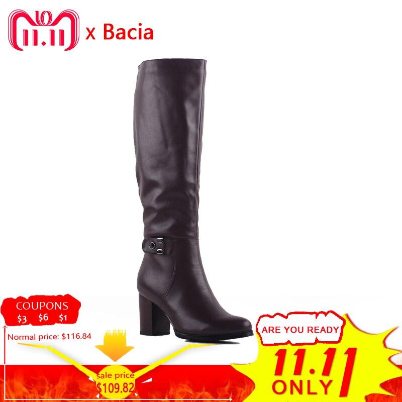 Bacia otoño botas de invierno botas de cuero de las mujeres de cuero de vaca botas de lana de moda de Estilo Vintage zapatos de mujer de la rodilla-Altos zapatos casuales zapatos SA078