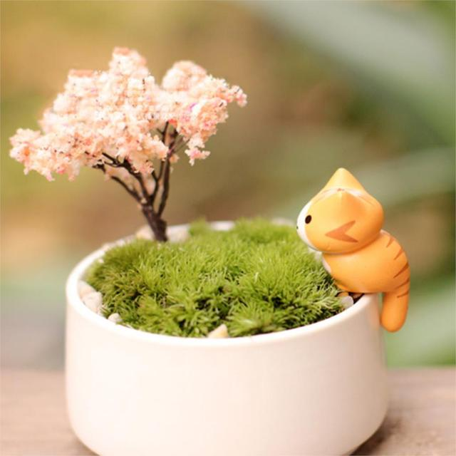 Lovely 6pcs/set Cartoon Lucky Cat Micro Landscape Kitten Miniature Craft Home Garden Bonsai Decorations Miniatures Gift 6