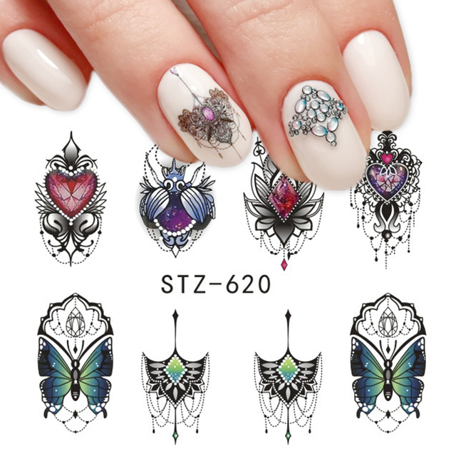 1pcs Slider Nail Sticker Gradient Lotus Decals Purple Flower Vine Designs For Nail Art Watermark Tattoo Decorations TRSTZ633-608 3