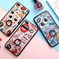 Moda pretting cartoon patten teléfono case con pata de cabra para iphone 6,6 s, 6 plus, 6 splus, 7,7 más anillos de soporte de lujo de la contraportada
