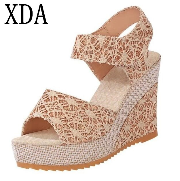 XDA 2018 Size 35-40 Women Sandals Summer New Open Toe Fish Head Fashion platform High Heels Wedge lace Sandals female shoes F01 in the summer of 2016 the new wedge heels with fish in square mouth denim fashion sexy female cool shoes nightclubs