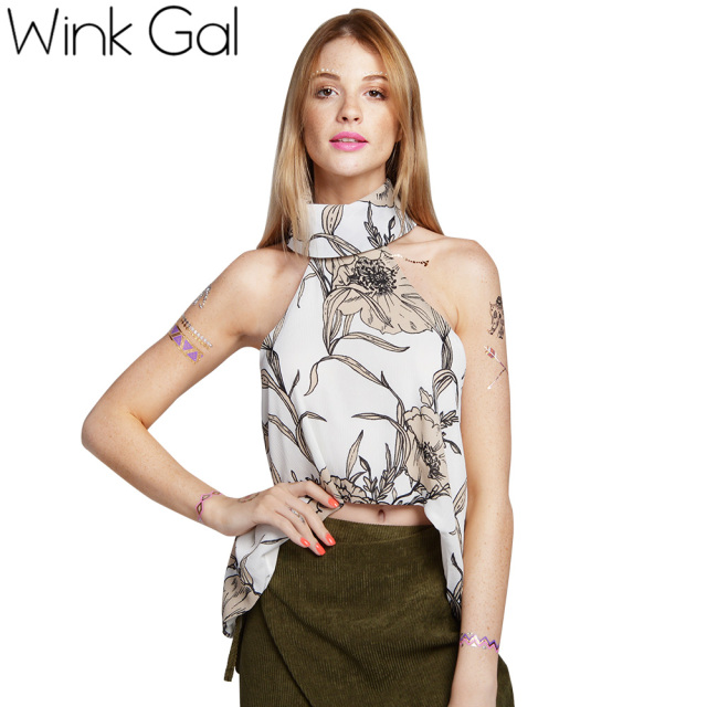 Wink Gal Summer Tops Camis Sleeveless White Tank Sexy Sleeveless Floral Loose Camisole Tops 3254