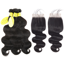 hot deal buy queen like hair products brazilian body wave with closure non remy hair weft weave 3 / 4 bundles human hair bundles with closure