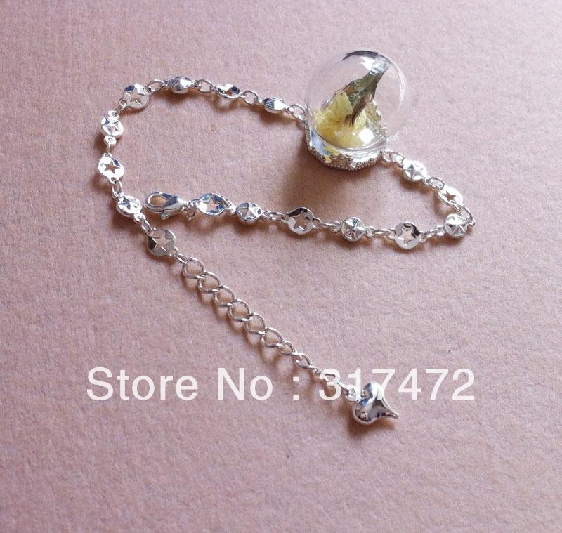 EMPTY Glass Bottle Bubble//Vial Charm Pendant with Vtg Bronze Chain Necklace DIY
